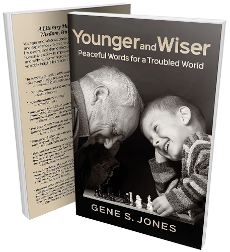 Front and back paperback cover for Gene Jones' book, Younger and Wiser